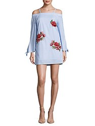 Romeo And Juliet Couture Embroidered Off The Shoulder Dress Blue