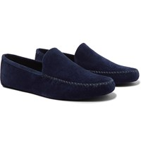 Loro Piana Maurice Cashmere Lined Suede Slippers Blue