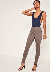 Missguided Brown High Waisted Skinny Jeans Taupe