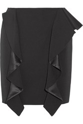 Givenchy Ruffled Silk Satin Paneled Grain De Poudre Wool Mini Skirt Black