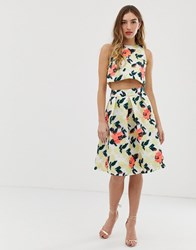 Chi Chi London Midi Prom Skirt In Bright Jacquard Multi