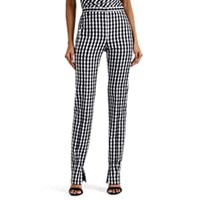 Narciso Rodriguez Gingham Wool Straight Leg Trousers White Blk