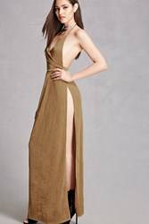 Forever 21 Metallic Halter Maxi Dress Gold