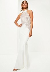 Missguided Bridal White High Neck Lace Detail Maxi Dress