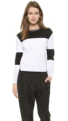 Jonathan Simkhai Bubble Knit Varsity Sweater Black White