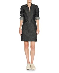 Tomas Maier Zip Front Denim Sheath Dress Blue