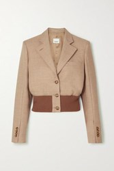 Burberry Cropped Wool Blend And Stretch Knit Blazer Beige