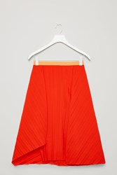 Cos Pleated Asymmetric Skirt Red
