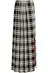 Ronald Van Der Kemp Checked Wool Maxi Skirt Black