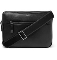 Hugo Boss Cross Grain Leather Messenger Bag Black