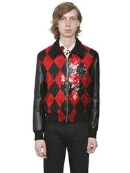 Saint Laurent Sequined Wool And Leather Teddy Jacket