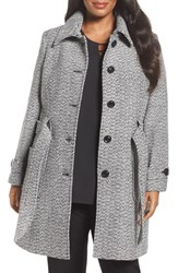 Gallery Plus Size Women's Belted Tweed Coat