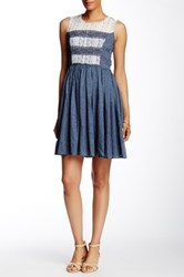 Ryu Sleeveless Lace Trim Dress Blue