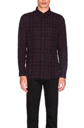 John Elliott Flannel Button Down In Red Checkered And Plaid Red Checkered And Plaid