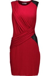 Bailey 44 Faux Leather Trimmed Stretch Jersey Mini Dress Red