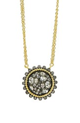 Freida Rothman Women's Gilded Cable Pebble Stone Disc Necklace Black Gold