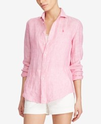 Polo Ralph Lauren Relaxed Fit Striped Linen Shirt Pink White