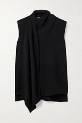 Adam By Adam Lippes Draped Crepe Top Black