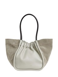 Proenza Schouler Large Smooth Leather And Suede Tote Bag Celadon