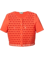 Fendi Cut Out Detail Cropped Cardigan Yellow And Orange