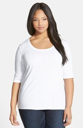 Plus Size Women's Sejour Elbow Sleeve Scoop Neck Tee
