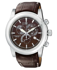 Citizen Men's Chronograph Eco Drive Brown Leather Strap Watch 41Mm At0550 11X