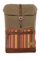 Hex Accessories Stinson Print And Denim Backpack Beige