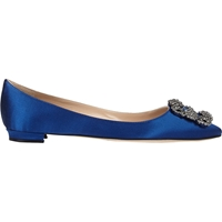 Manolo Blahnik Hangisi Jeweled Flats Royal Blue