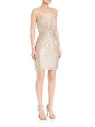 Laundry By Shelli Segal Gathered Metallic Cocktail Dress
