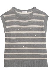 Brunello Cucinelli Sequin Embellished Striped Linen And Silk Blend Sweater Gray