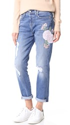 7 For All Mankind Josefina Boyfriend Jeans Embroidered Botanical
