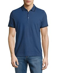 Kenneth Cole Contrast Short Sleeve Polo Baltic