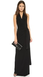 Norma Kamali Kamali Kulture Halter Wrap Maxi Dress Black
