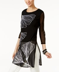 Alfani Long Illusion Tunic Only At Macy's Black Delicate Ginko