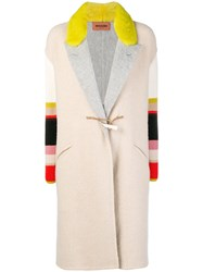 Missoni Colour Block Duffle Coat Nude And Neutrals