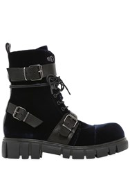 Fru.It 30Mm Buckle Velvet And Leather Ankle Boots