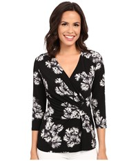 Ellen Tracy 3 4 Sleeve Twist Top Spellbound Black Women's Clothing