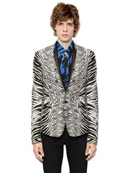 Roberto Cavalli Cotton And Silk Zebra Jacquard Jacket