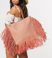 South Beach Exclusive Straw Tote Bag With Fringed Edge In Orange