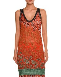 Missoni Leaf Embroidered Tank Top Red Red Pattern