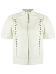 Andrea Bogosian Leather Top White