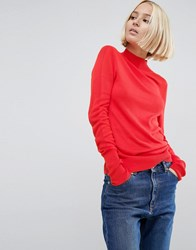 Asos Jumper With Turtle Neck In Soft Yarn Red