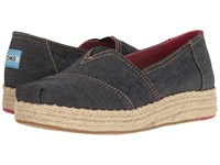 Toms Platform Alpargata Navy Denim Women's Slip On Shoes Blue