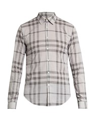 Burberry Single Cuff Checked Cotton Shirt Grey Multi