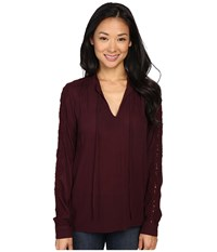 B Collection By Bobeau Amelia Tie Neck Woven Blouse Burgundy Women's Blouse