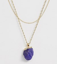 Monki Layer Necklace With Blue Stone Pendant In Gold