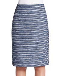 424 Fifth Boucle Pencil Skirt Evening Blue
