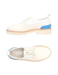 Leather Crown Lace Up Shoes Ivory