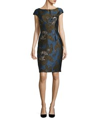 Vera Wang Jacquard Sheath Dress Sea Multi