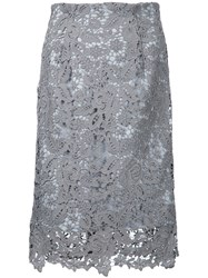 Estnation Lace Embroidered Skirt Women Polyester 38 Grey